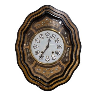 19th Century French Napoleon III Mother of Pearl Inlay and Painted Wall Clock For Sale