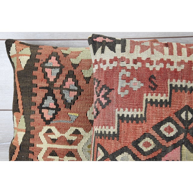 Vintage Turkish Handwoven Kilim Pillows - Pair - Image 3 of 5