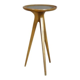 John Van Koert for Drexel Leather Top Occasional Table Stand For Sale