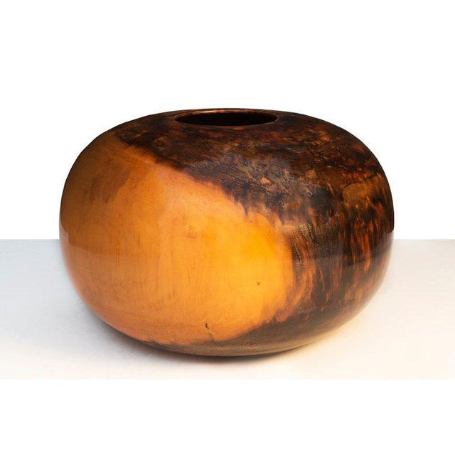 Edward Moulthrop (1916 - 2003) A monumental American Crafts vessel in turned, highly figured tulipwood. Signed to the...