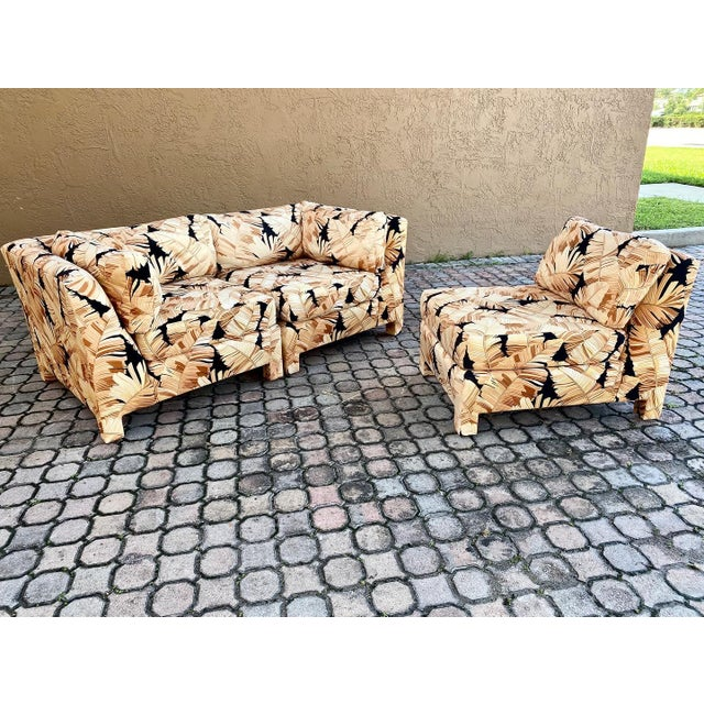 Fabulous palm print fabric 3pc sectional by Century furniture! Upholstered legs and back. Sofa can be utilized in many...