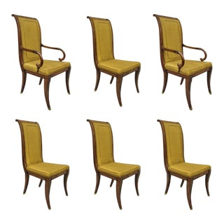 Vintage Mid Century Karges French Neoclassical Regency Style Klismos Leg Walnut Dining Chairs- Set of 6 For Sale