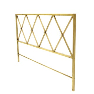 Glamorous Brass King-Size X Pattern Headboard Brass Rosetts For Sale