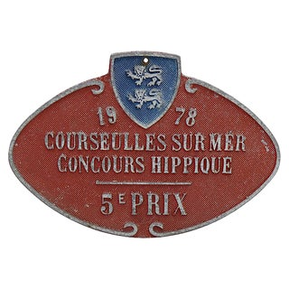 1978 French Horse Show Trophy Plaque For Sale