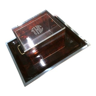 Thc Tortoiseshell Lucite Lidded Box Tray & Liner For Sale