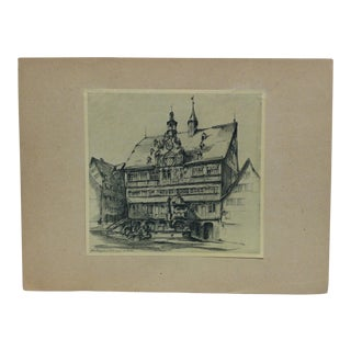 """Vintage Mid-Century """"The Town Inn"""" Mounted Print For Sale"""