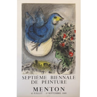 Original 1968 Marc Chagall Exhibition Poster, Menton For Sale