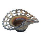 Image of Fenton Carnival Glass Basket Weave Open Lace Edge Bonbon Candy Dish For Sale