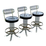 Image of 1970s Hill Mfg Lucite Swivel Barstools - Set of 3 For Sale