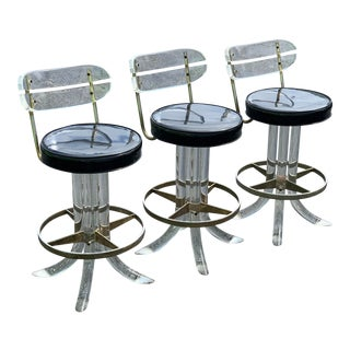1970s Hill Mfg Lucite Swivel Barstools - Set of 3 For Sale
