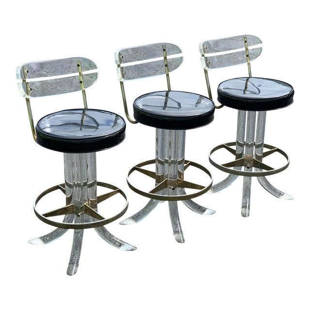 1970s Hill Mfg Lucite Swivel Barstools - Set of 3 For Sale