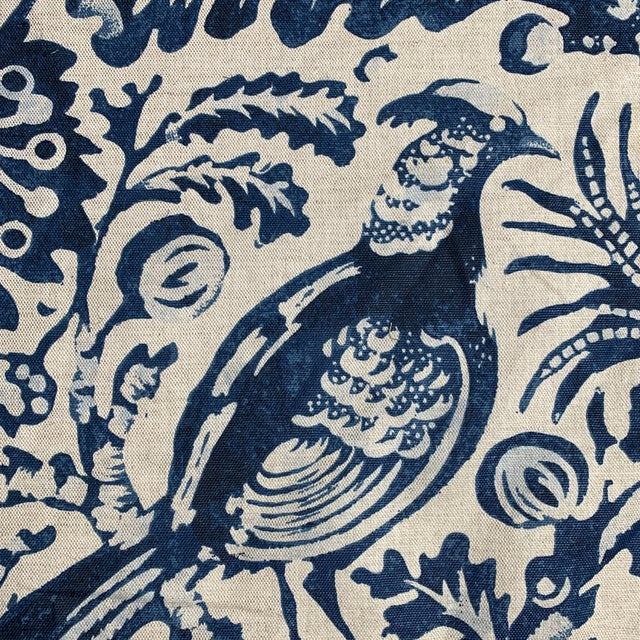 "Chic Clarence House Fabric in indigo on natural linen. Pattern is ""Delft"" featuring birds and flowers handprinted on a..."