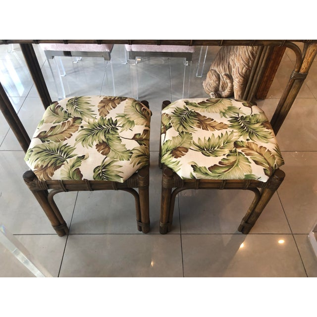 Wood Vintage Tropical Bamboo Rattan Console Table and Benches - 3 Pc. Set For Sale - Image 7 of 13