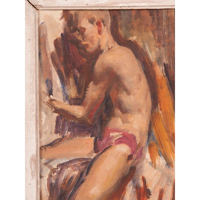 Orange Signed painting by English artist Victor Hume of an Athlete, circa 1960 For Sale - Image 8 of 8