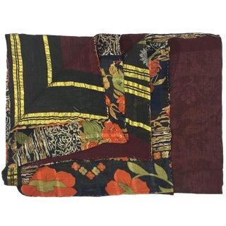 Burgundy and Gold Vintage Kantha Quilt For Sale