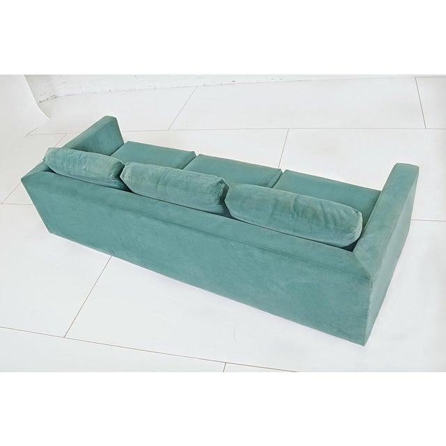 Mid-Century Modern 1960s Dunbar Velvet Tuxedo Sofa on Chrome Base, Edward Wormley For Sale - Image 3 of 9