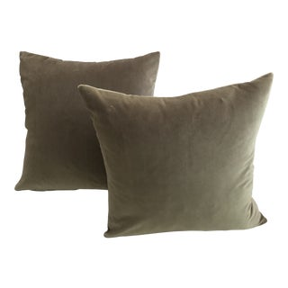 Modern Oyster Gray Pewter Velvet Companion Feather Down Pillows- a Pair For Sale