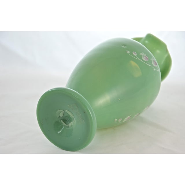 Glass 19th Century Green Jadeite Glass Vase For Sale - Image 7 of 8