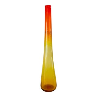 1959 Vintage Wayne Husted Blenko Glass Tangerine Vase For Sale