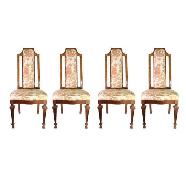 Brown Vintage High Back Italian Provincial Chairs by Dixie Furniture Co - Set of 4 For Sale - Image 8 of 8