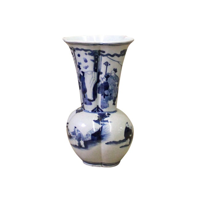 Chinese Blue White Porcelain Flower Shape People Scenery Vase For Sale