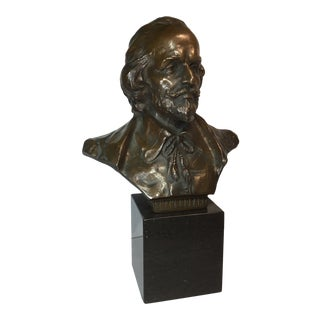 Late 19th Century Shakespeare Bronze Bust on Marble Base For Sale