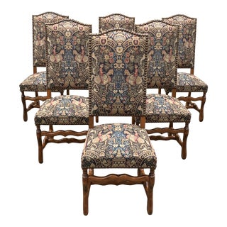 1900s Century French Country Louis XIII Style Os De Mouton Dining Chairs - Set of 6 For Sale