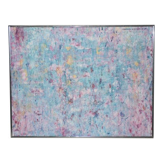 Gertrude Schoeler (American, 20th C.) Vintage Pink & Blue Abstract Oil Painting C.1980 For Sale
