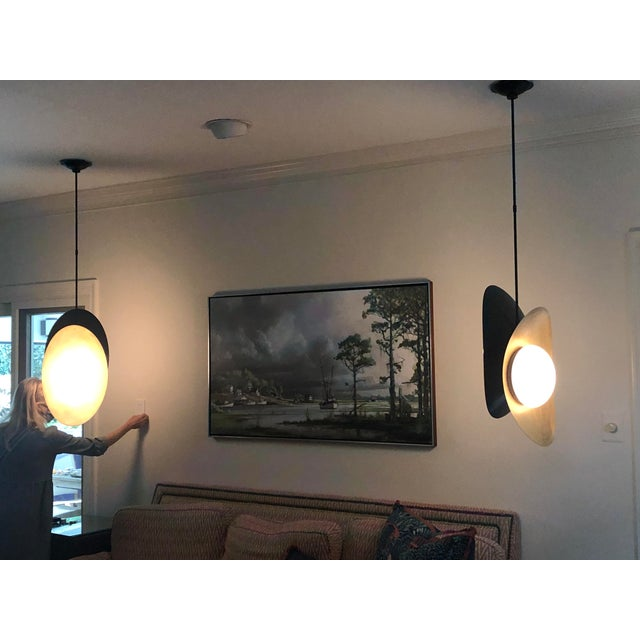 """Visual Comfort """"Nouvel"""" Bronze With Antique Brass Pendant Ceiling Light For Sale - Image 11 of 12"""