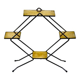 Italian Mid Century Brass and Iron Tiered Display Stand For Sale