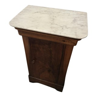 19th Century Louis Philippe Style Nightstand With Cararra Marble Top For Sale