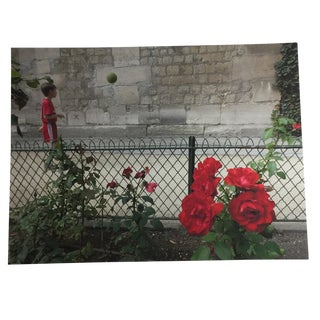 Boy With Green Ball and Red Roses, Paris Photograph by Louise Weinberg For Sale