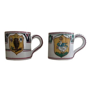 Italian Palio Mugs With Banner Owl and Swan - a Pair For Sale