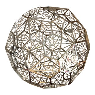 Tom Dixon Web Etch Steel Spherical Orb Contemporary Pendant Chandelier Light For Sale