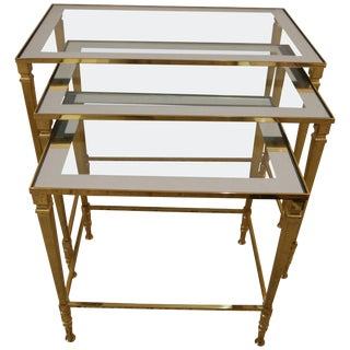 Mid-Century French Polished Brass & Glass Nesting Tables by Maison Jansen - Set of 3 For Sale