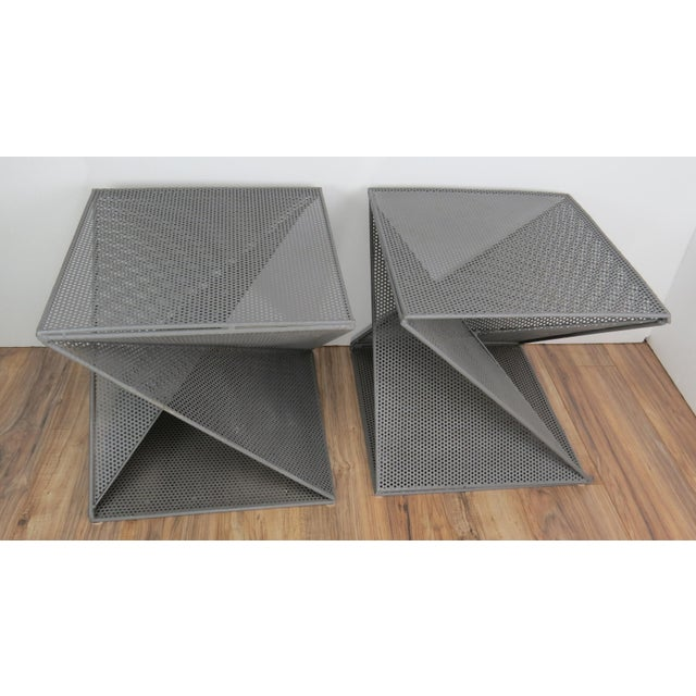 Industrial 1950s Mathieu Matégot Geometric Side Tables - A Pair For Sale - Image 3 of 13