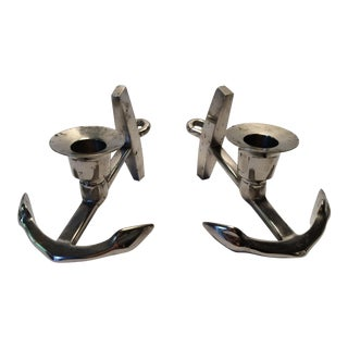 Anchor Candle Holders - Chrome over Brass - a Pair For Sale