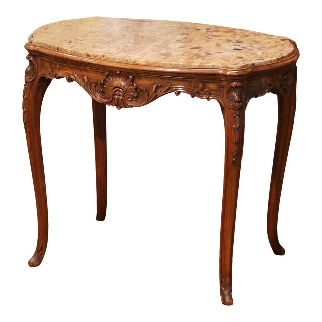 19th Century French Louis XV Carved Oak Side Table With Beige Marble Top For Sale