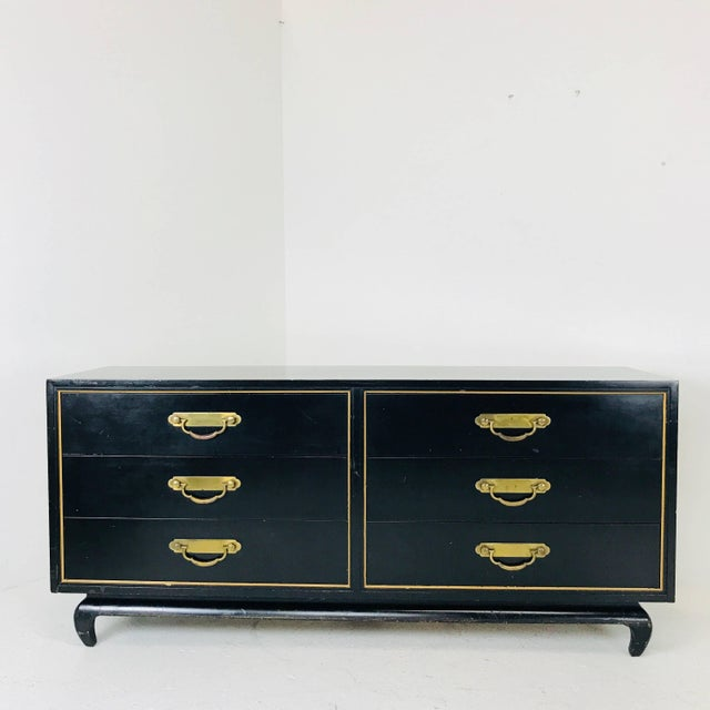 Mid 20th Century Black and Gold Asian Dresser by American of Martinsville For Sale - Image 5 of 7