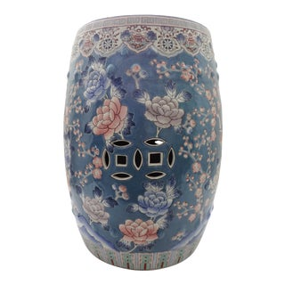 Traditional Chinoiserie Floral Blue Ceramic Garden Stool For Sale