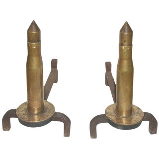 Wwii Era Brass Howitzer Ammunition as Andirons For Sale