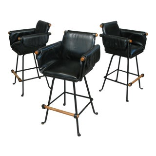 1970s Cleo Baldon Black Swivel Barstools - Set of 3 For Sale