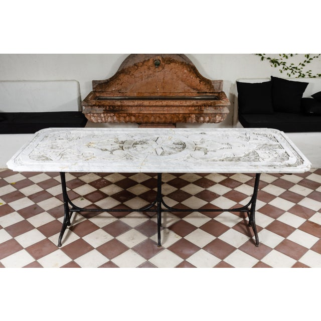 Mid-Century Modern 19th Century Castel Franco Hand Chiseled Marble Table with Iron Base For Sale - Image 3 of 12