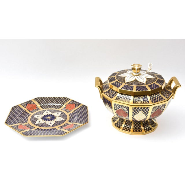 Bone English Porcelain Imari Pattern Painted Tureen With Underplate For Sale - Image 7 of 11