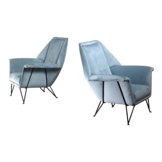Pair of i.s.a. Bergamo Lounge Chairs, Italy, 1950s For Sale
