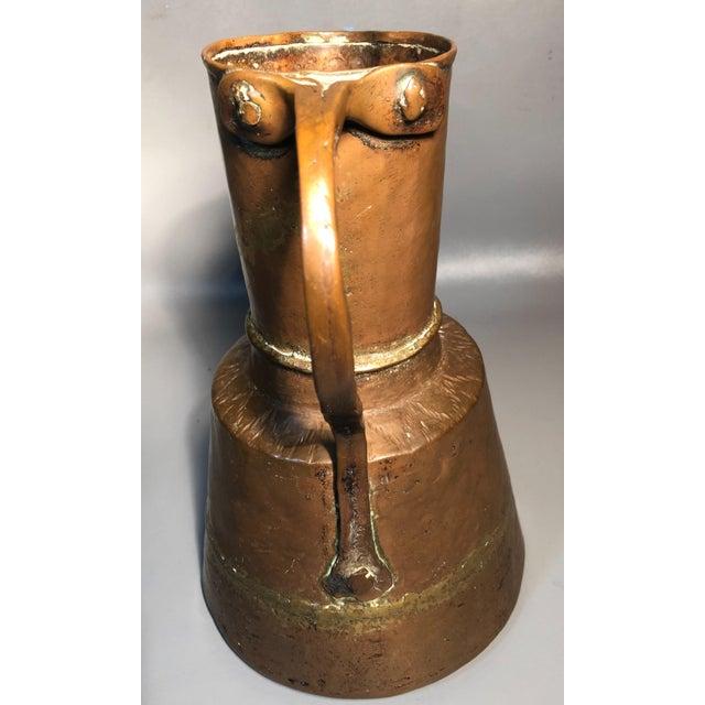Rustic Primitive 19c Pitcher Hand Hammered Copper Brass Large Moonshine Still Jug Kettle Pot Vase For Sale - Image 3 of 10