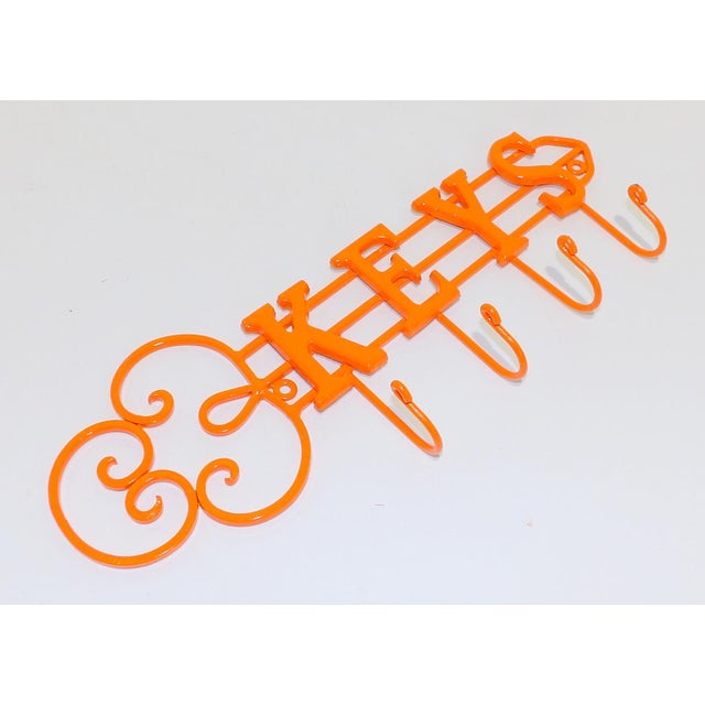 Early 21st Century Modern Orange Wrought Iron Key Hook Holder For Sale - Image 5 of 5