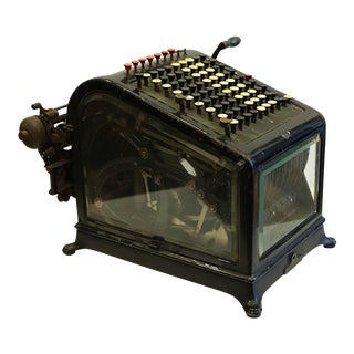 Early 20th C. Metal and Beveled Glass Adding Machine C. 1909