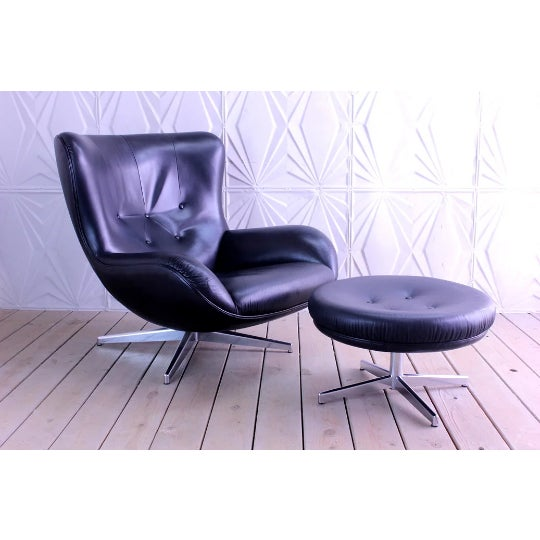 1960s Mid-Century Modern Illum Wikkelso Lounge Chair and Ottoman - 2 Pieces For Sale - Image 6 of 6