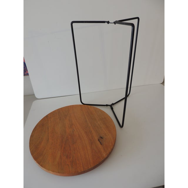 Folding Round Side Table With Wood Top and Pencil Legs For Sale - Image 4 of 6